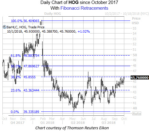 Daily Chart of HOG with Fib Levels