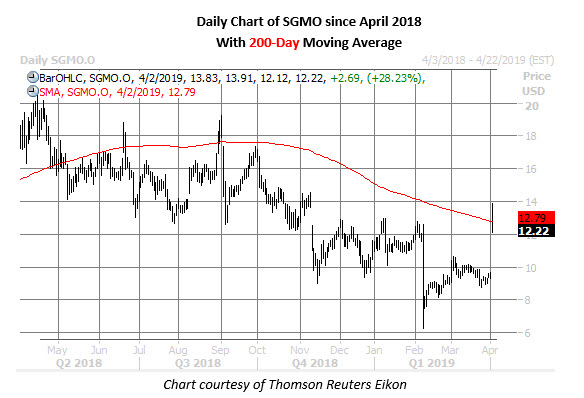 sgmo stock daily chart april 2