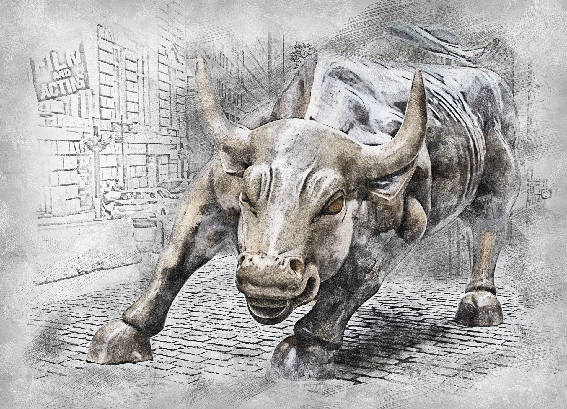 Sketch of Wall Street bull