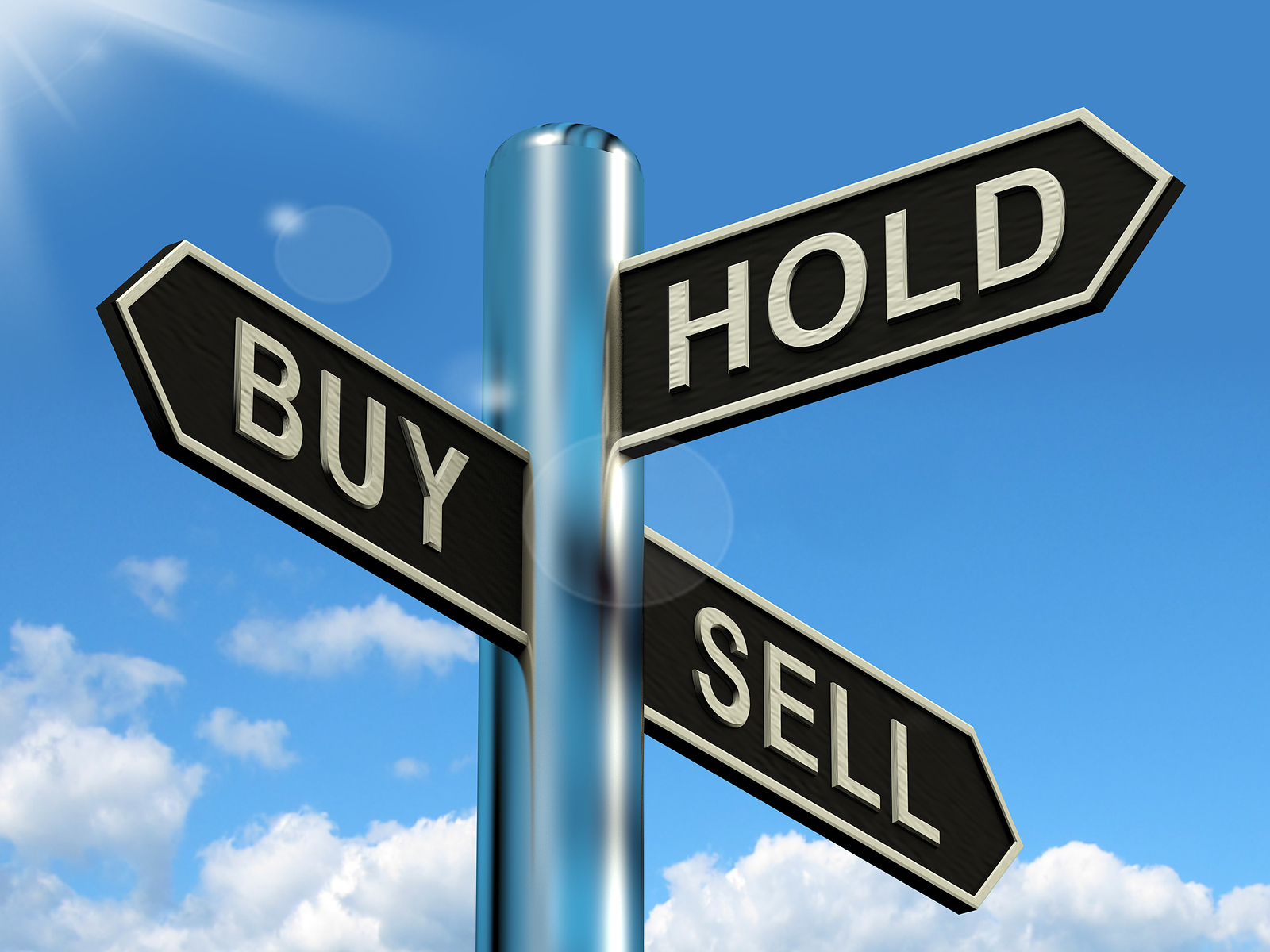 Buy Sell Hold sign