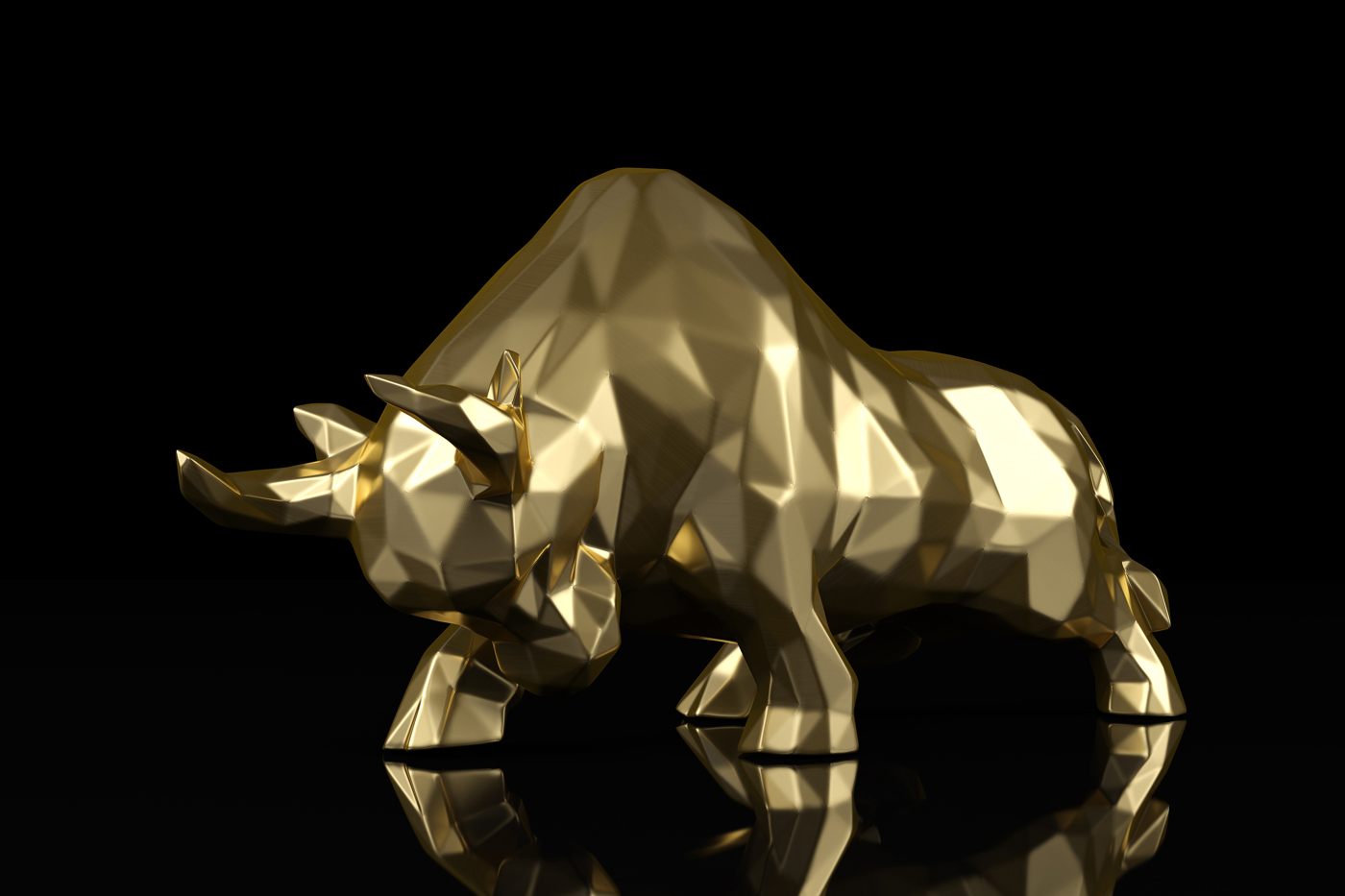 Gold Bull on black background