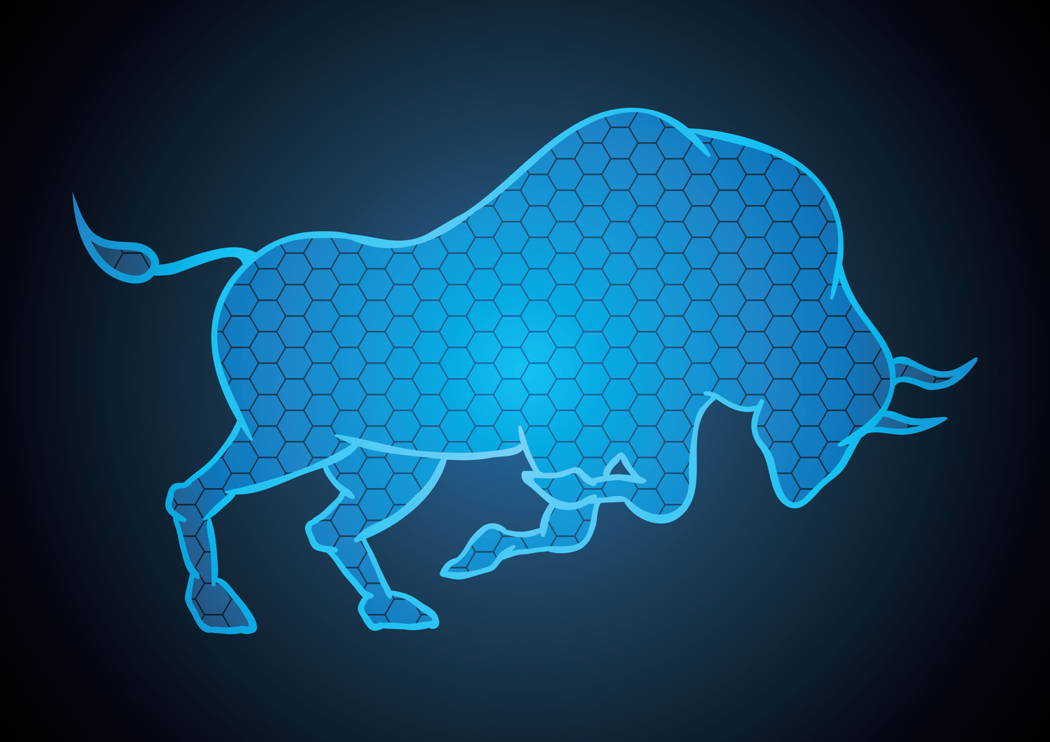 Light blue bull on navy blue background