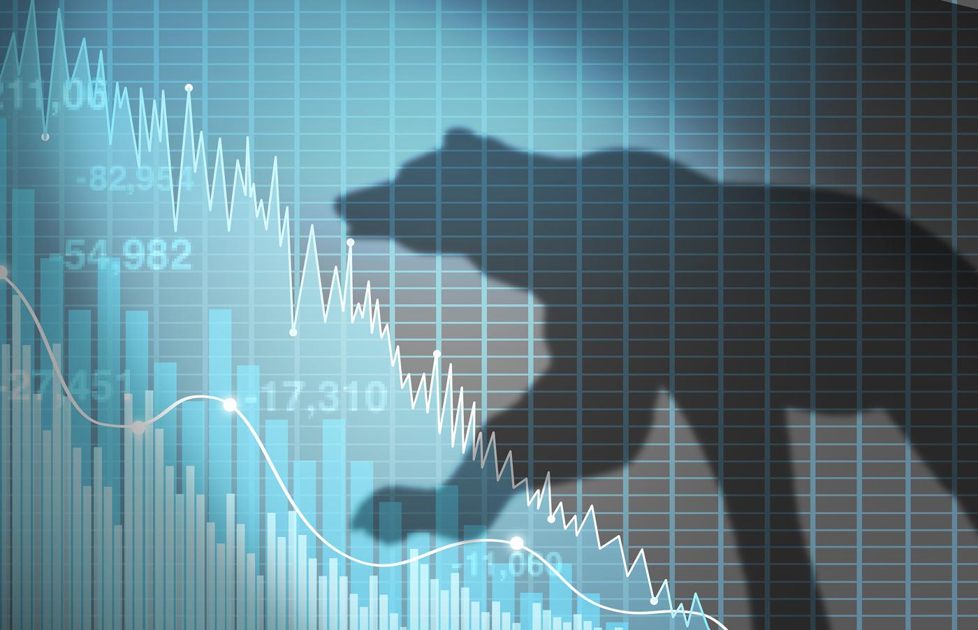 Bearish outlook, bear button, sell off, bearish market