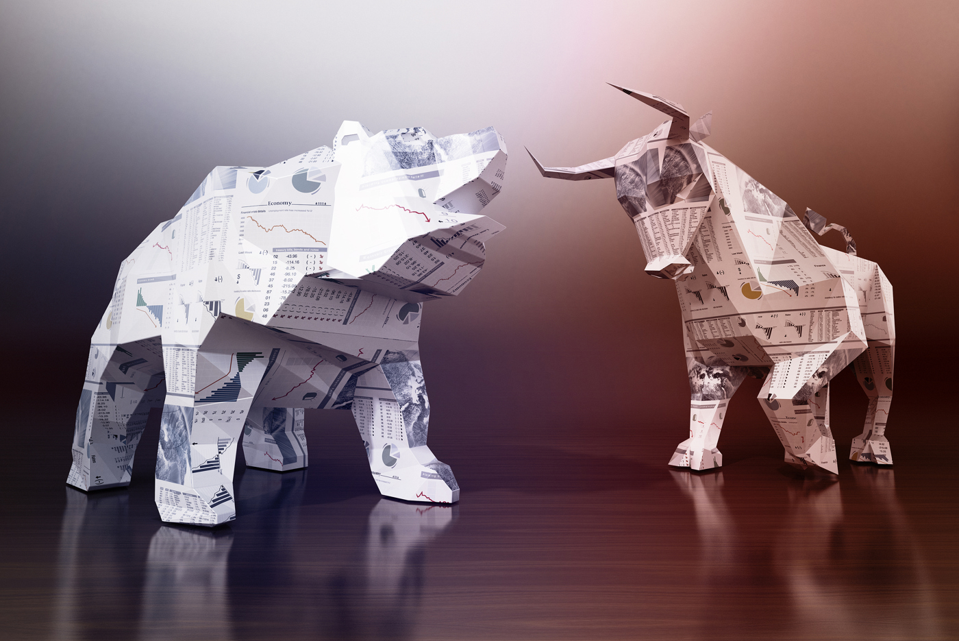 Bull and bear made of financial newspapers