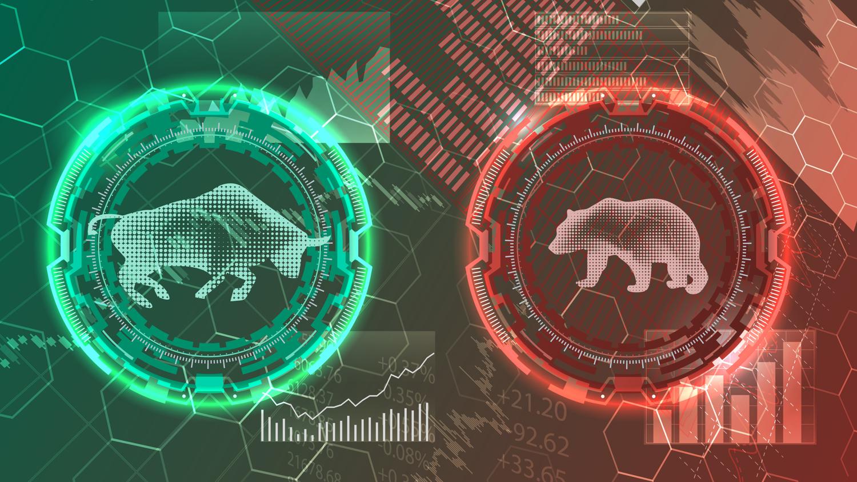 Bull and bear, bullish, bearish, stock market sentiment