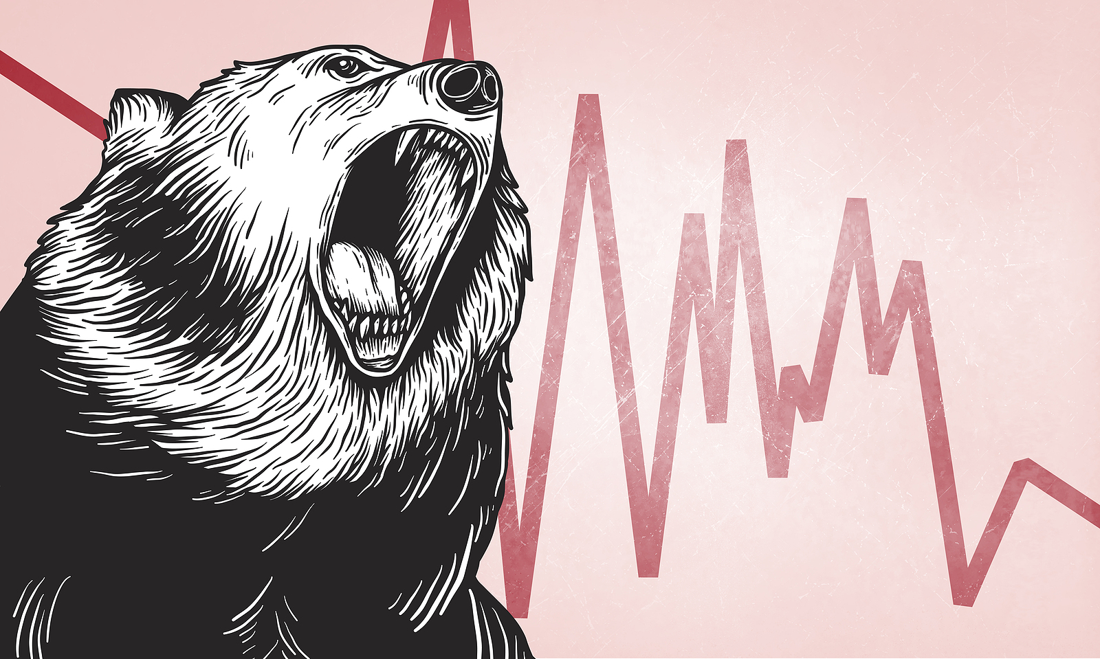 Bearish with red and pink chart
