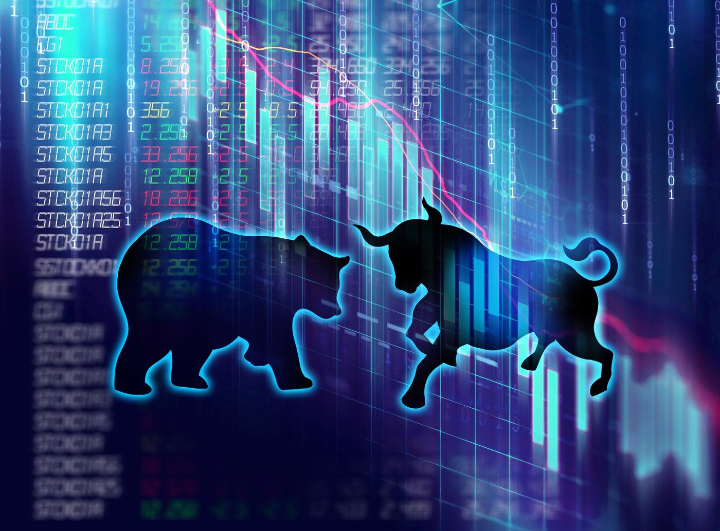 Bull and bear with purple and blue, Bullish, Bearish, Stock market