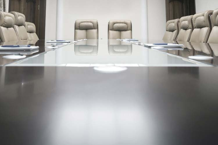 Company earnings call boardroom