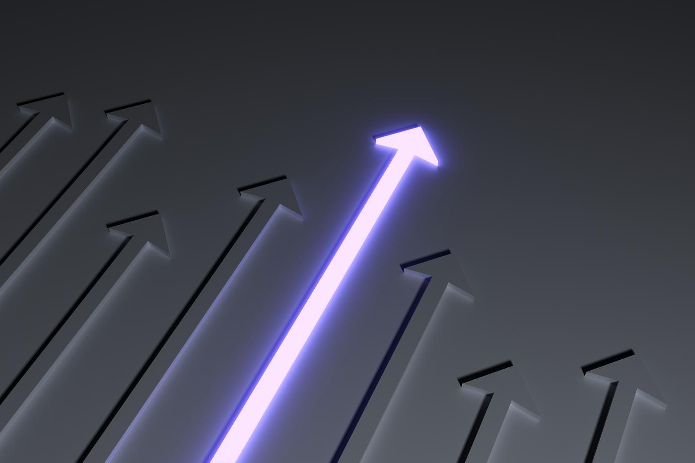 Arrow pointing up, Stock price increasing, Bullish stock price movement