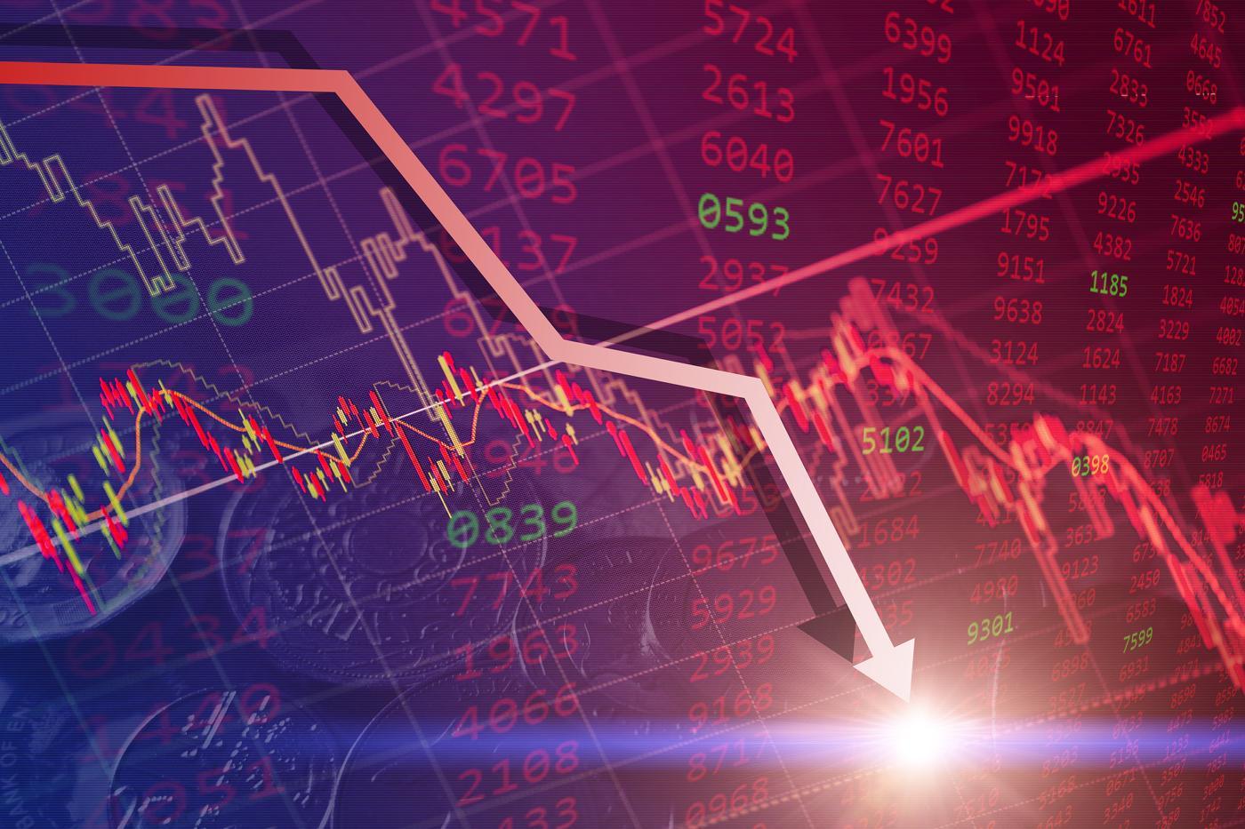 Stock downtrend, stock price drop, bearish run