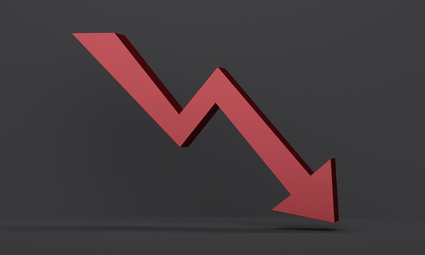 Arrow pointing down, Stock price decreasing, Bearish stock price movement
