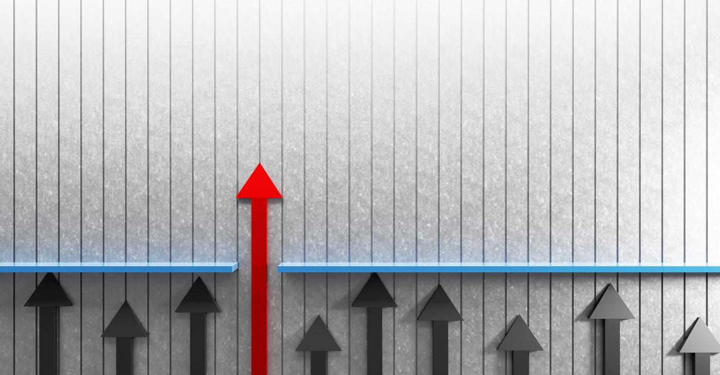 Up arrow, breakthrough ahead stocks