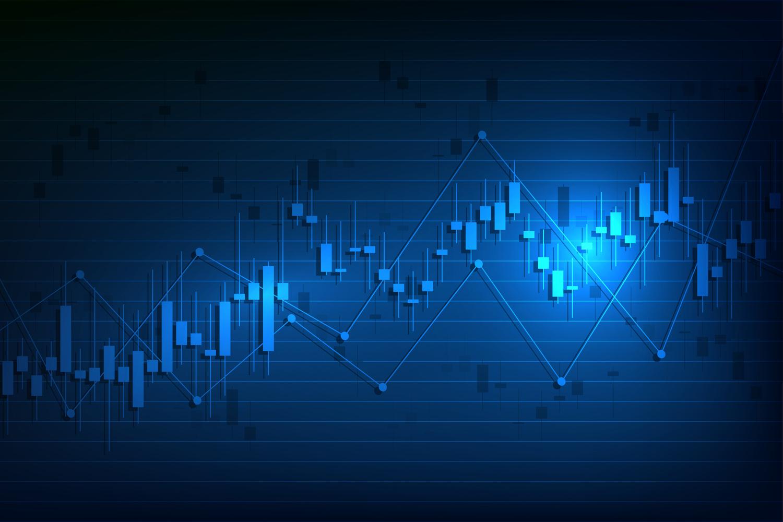 blue stock price chart, price chart increasing