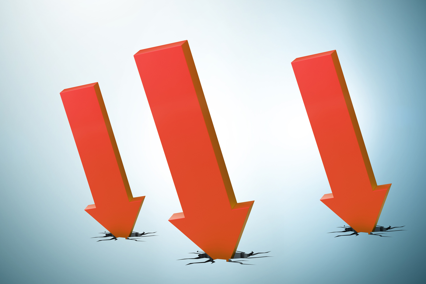 Down Trend Stock, Downtrend, Red arrow down