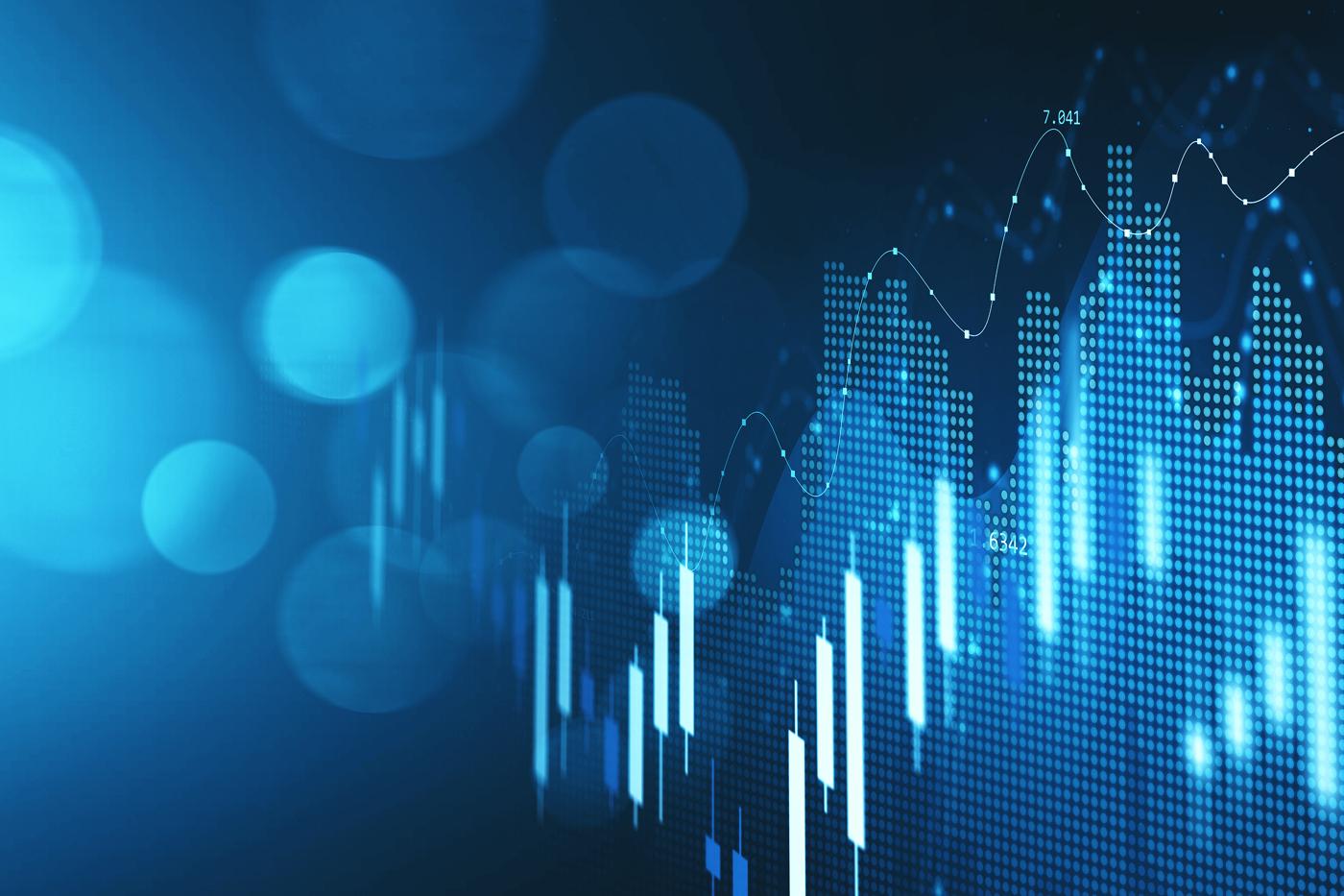 Stock price increasing chart, stock soaring, bullish run, stock increase