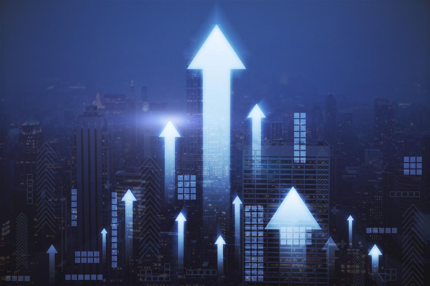 Stock price chart, stock chart, blue stock chart