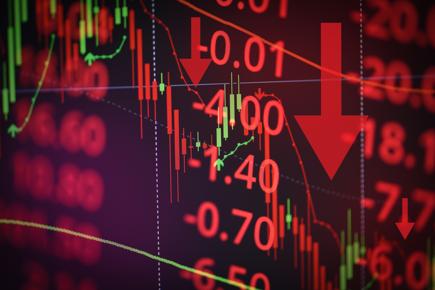 red stock price chart, stock price dropping