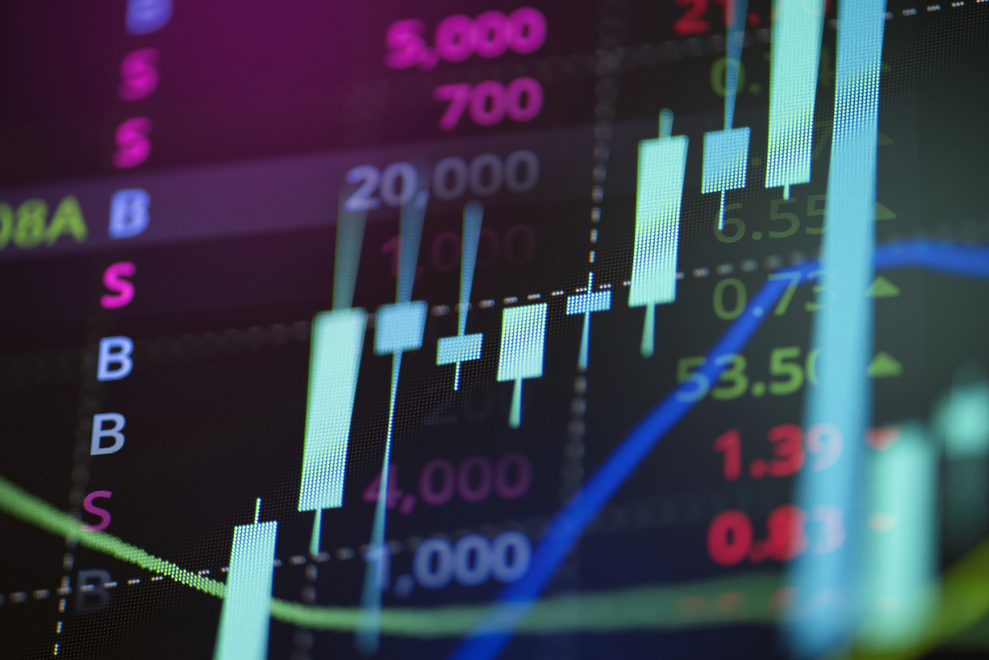 Stock market tickers scrolling on stock price chart