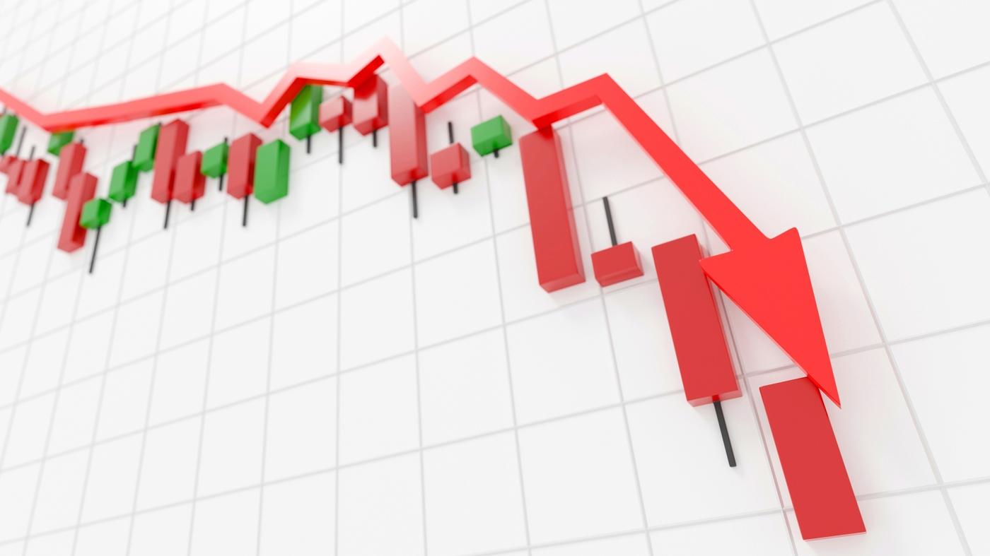 Stock downtrend, stock price drop, bearish run, stock drop