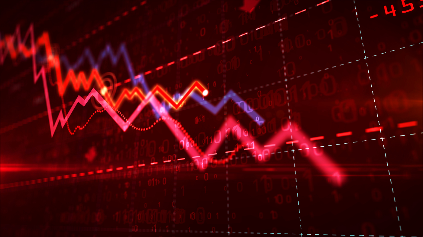 Arrows pointing down, Stock price decreasing, Bearish stock price movement