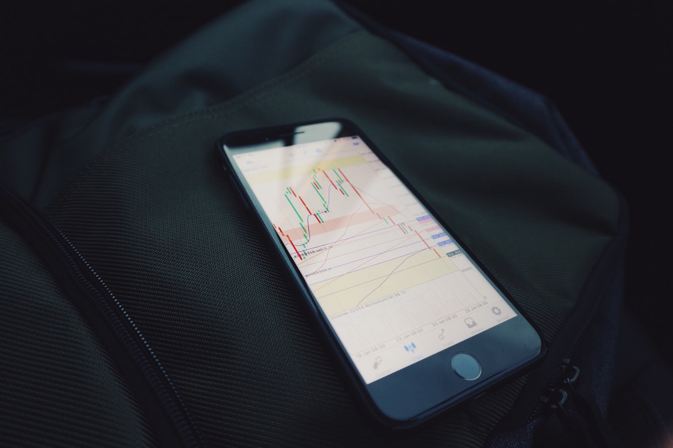 iphone with stock charts on screen and dark backround