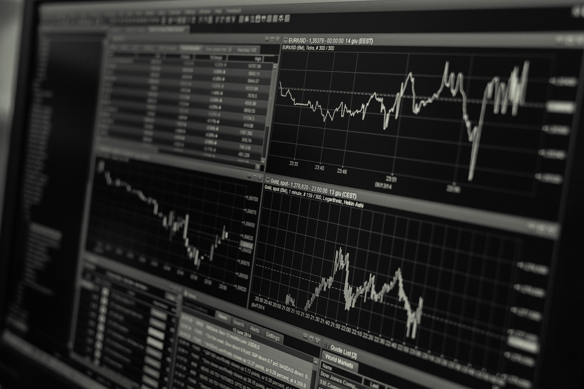 Black and white stock trader screen