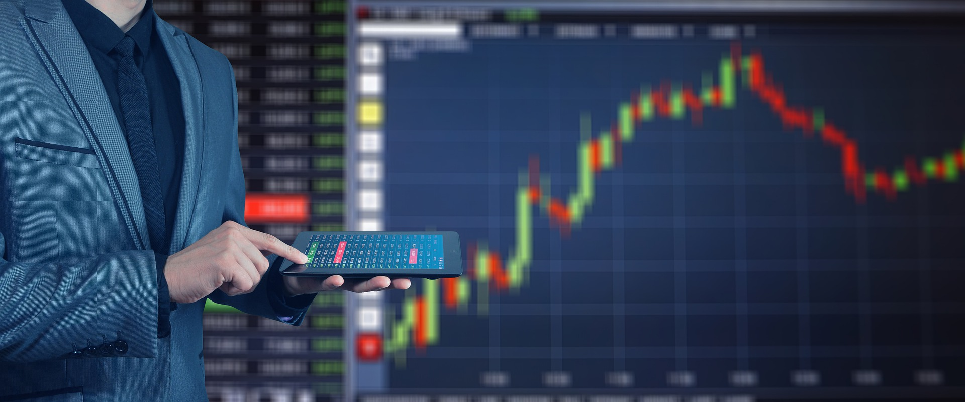 Trader using iPad to track stocks and options