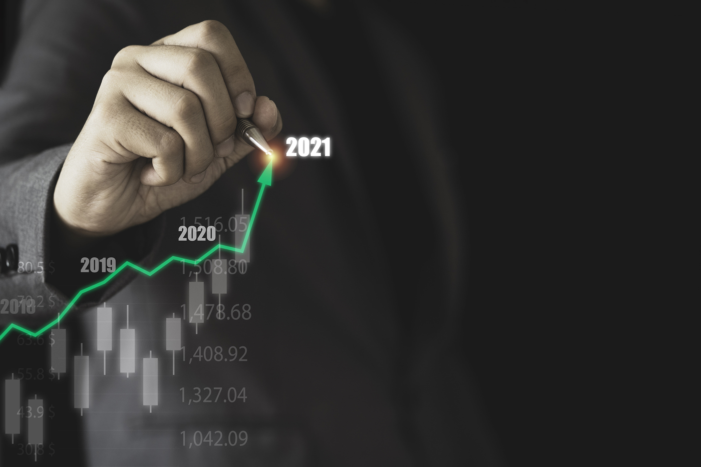 Investor with bullish 2020 to 2021 trendline