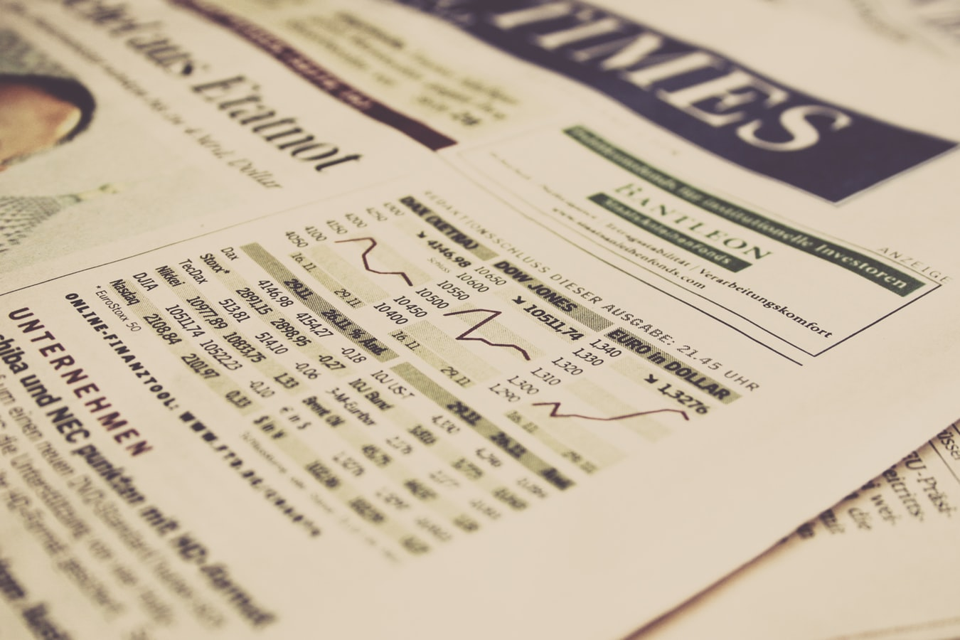 Investor newspaper page stock market
