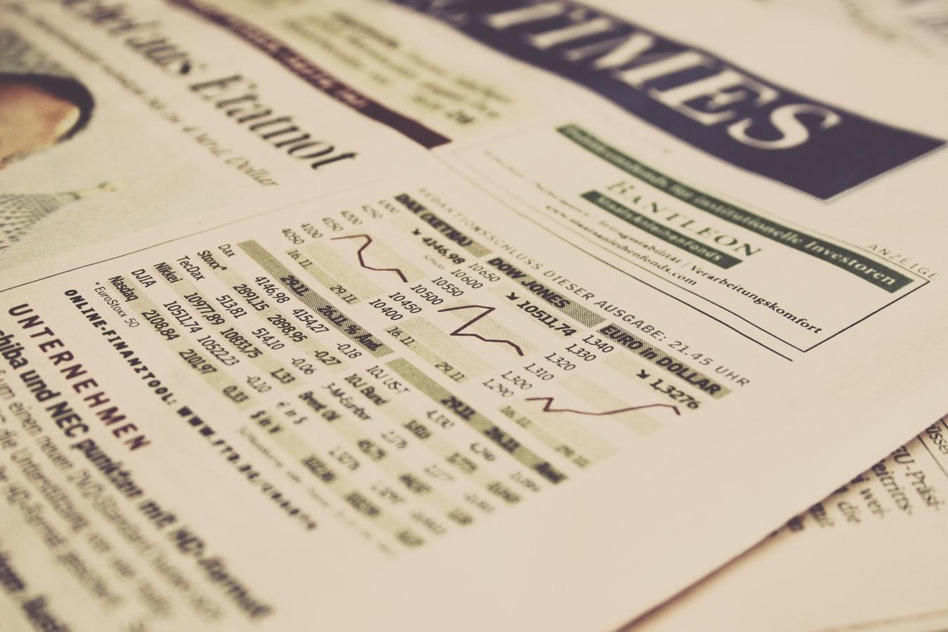 Investor newspaper page stock market