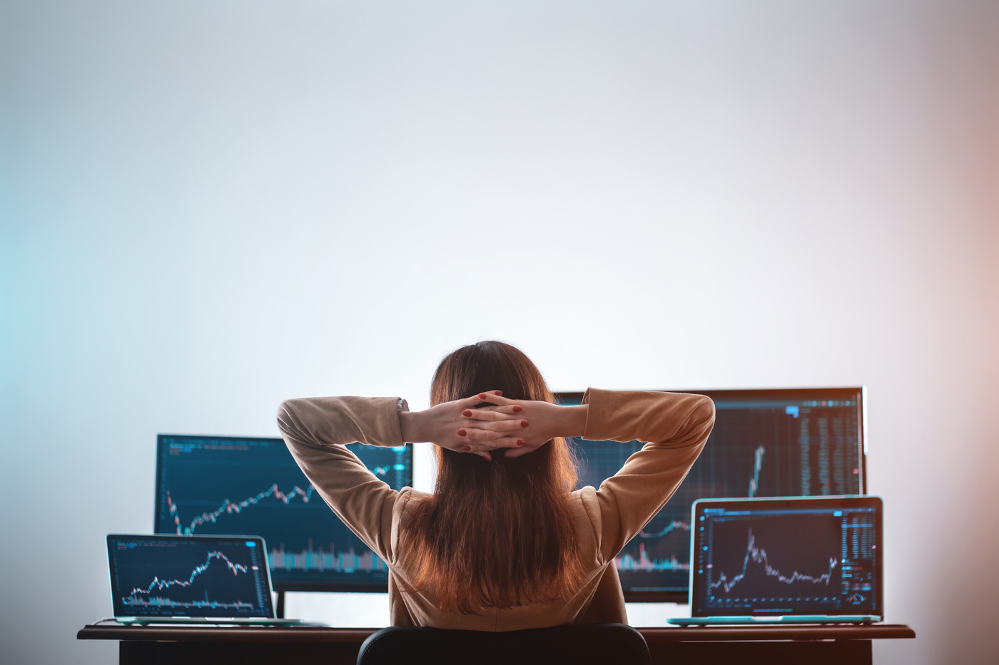 Trader watching stock market price action
