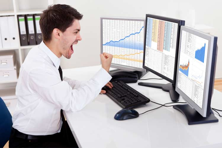 Options trader celebrating his trades