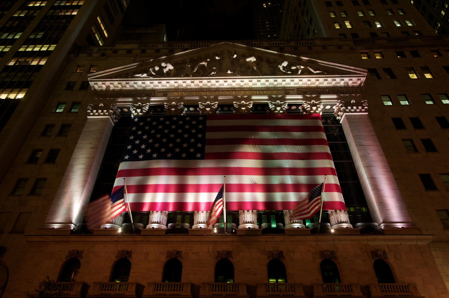 New York Stock Exchange NYSE at night