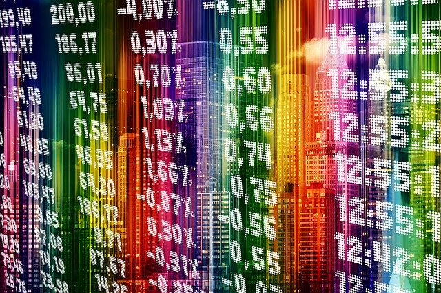 stock exchange in multiple colors