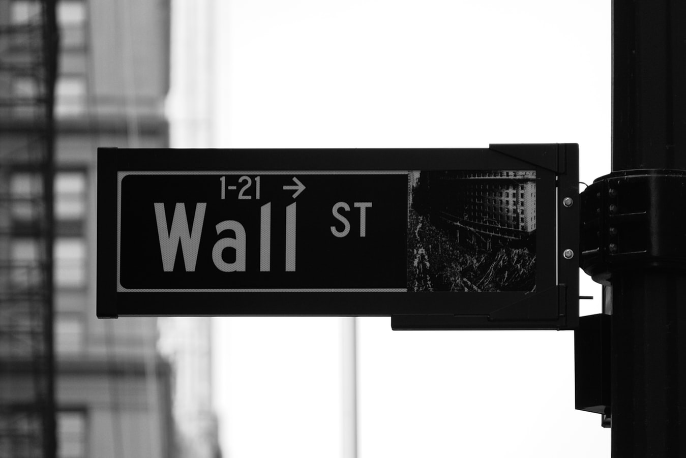 Wall Street sign black and white financial district